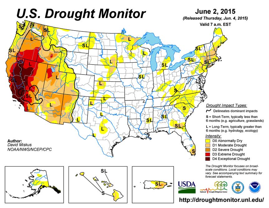 Figure 2: US drought conditions June 2015. Source: www.drought.gov/m/